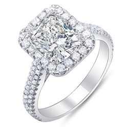 Natural 3.97 CTW Cushion Cut Halo Diamond Engagement Ring 18KT White Gold