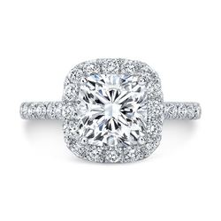 Natural 1.92 CTW Cushion Cut Halo Diamond Engagement Ring 14KT White Gold