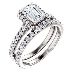 Natural 2.62 CTW Halo Emerald Cut Diamond Engagement Set 18KT White Gold