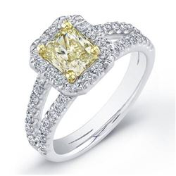 Natural 2.42 CTW Canary Yellow Radiant Cut Halo Diamond Engagement Ring 18KT Two-tone