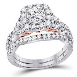 14kt Two-tone Gold Round Diamond Bridal Wedding Ring Band Set 1-3/4 Cttw