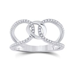 14kt White Gold Womens Round Diamond Negative Space Link Fashion Ring 1/6 Cttw