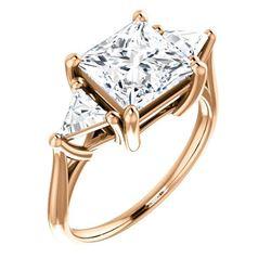 Natural 4.02 CTW 3-Stone Princess Cut & Trillion Cut Diamond Ring 14KT Rose Gold