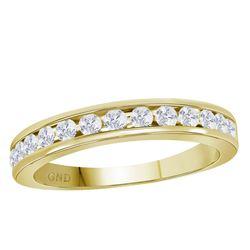 14kt Yellow Gold Mens Round Diamond Wedding Single Row Band Ring 1/2 Cttw