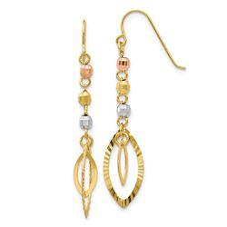 14k Tri-Color Bead & Yellow Oval Dangle Earrings