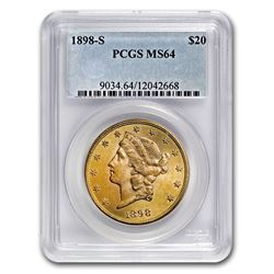 1898-S $20 Liberty Gold Double Eagle MS-64 PCGS