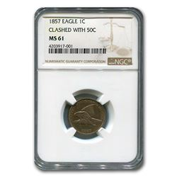 1857 Flying Eagle Cent MS-61 NGC (Clashed with 50C)