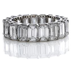 Natural 8.02 CTW Emerald Cut Diamond Eternity Ring 18KT White Gold