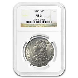 1835 Capped Bust Half Dollar MS-61 NGC