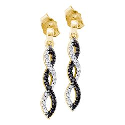 14kt Yellow Gold Womens Round Black Color Enhanced Diamond Twist Dangle Earrings 1/6 Cttw