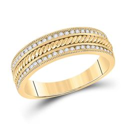 14kt Yellow Gold Mens Round Diamond Wedding Rope Inlay Band Ring 1/3 Cttw