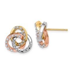 14k Tri-Color Diamond Fascination Loveknot Earrings