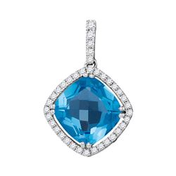14kt White Gold Womens Cushion Blue Topaz Diamond Square Solitaire Pendant 3-1/2 Cttw