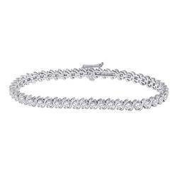 14kt White Gold Womens Round Diamond Classic Tennis Bracelet 4 Cttw