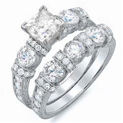 Natural 2.12 CTW Princess Cut Vintage Diamond Engagement Ring 18KT White Gold