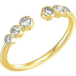 Natural 0.27 CTW Six Stone Stackable Bezel Diamond Cuff Ring 18KT Yellow Gold