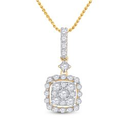 14kt Yellow Gold Womens Round Diamond Square Dangle Cluster Pendant 1/2 Cttw