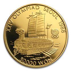 1986-1988 South Korea 1 oz Gold 50,000 Won Olympics Proof
