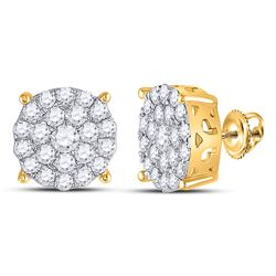 14kt Yellow Gold Womens Round Diamond Concentric Circle Cluster Stud Earrings 2 Cttw