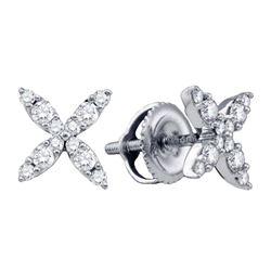 14kt White Gold Womens Round Diamond X Fashion Earrings 1/4 Cttw