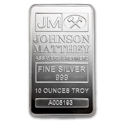 10 oz Silver Bar - Johnson Matthey