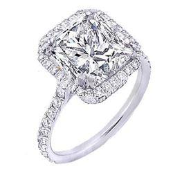 Natural 2.22 CTW Pave Halo Princess Cut Diamond Engagement Ring 18KT White Gold