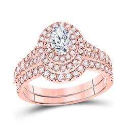 14kt Rose Gold Oval Diamond Bridal Wedding Ring Band Set 1-1/4 Cttw
