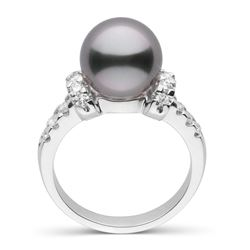 Black Tahitian Pearl and Diamond Bloom Cocktail Ring, 9.0-10.0mm, Sterling Silver or 14K Gold
