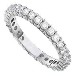 14kt White Gold Womens Round Pave-set Diamond Eternity Wedding Band 2 Cttw