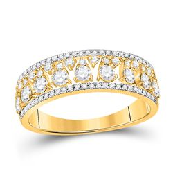 14kt Yellow Gold Womens Round Diamond Band Ring 3/4 Cttw