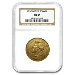 1857 Brazil Gold 20,000 Reis Pedro II AU-50 NGC