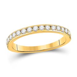 14kt Yellow Gold Womens Round Diamond Wedding Single Row Band 1/3 Cttw