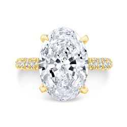 Natural 4.22 CTW Halo Oval Cut Diamond Engagement Ring 18KT Yellow Gold