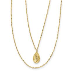 14k Yellow Gold Diamond-cut Teardrop 2-Strand Necklace - 18 in.