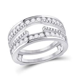 14kt White Gold Womens Round Diamond Wedding Wrap Ring Guard Enhancer 1 Cttw