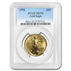 1992 1/2 oz Gold American Eagle MS-70 PCGS (Registry Set)