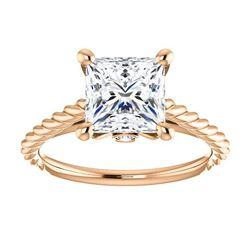 Natural 1.12 CTW Princess cut Rope Design Diamond Engagement Set 14KT Rose Gold