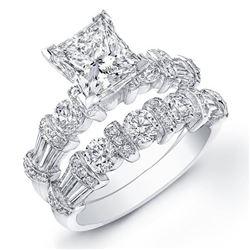 Natural 3.52 CTW Princess Cut & Baguette Accent Diamond Ring 18KT White Gold