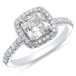 Natural 2.33 CTW Cushion Cut Halo Micro Pave & U-Setting Diamond Engagement Ring 14KT White Gold