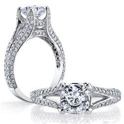 Natural 4.02 CTW Cushion Cut Split Shank Diamond Engagement Ring 18KT White Gold