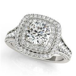 Natural 1.65 ctw Diamond Halo Ring 14k White Gold