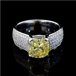 Natural 4.53 CTW Cushion Cut Canary Yellow Diamond Ring 14KT White Gold