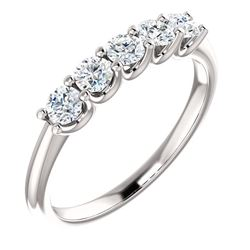 Natural 0.52 CTW Round Cut 5-Stone Diamond Wedding Anniversary Ring 18KT White Gold