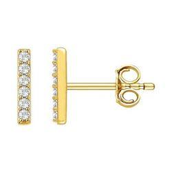 Natural 0.14 CTW Diamond Bar Earrings 14KT Yellow Gold