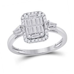 14kt White Gold Womens Baguette Diamond Rectangle Fashion Ring 1/2 Cttw