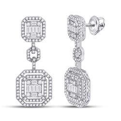 14kt White Gold Womens Baguette Diamond Octagon Dangle Earrings 1-1/2 Cttw