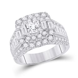14kt White Gold Princess Diamond Square Bridal Wedding Engagement Ring 3 Cttw