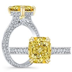 Natural 5.27 CTW Canary INTENSE Yellow Cushion Cut Diamond Engagement Ring 18KT Two-tone