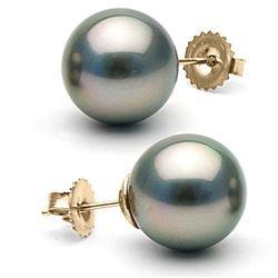 Black Tahitian Pearl Stud Earrings, 12.0-13.0mm