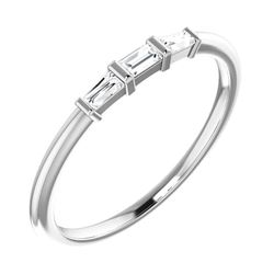 Natural 0.19 CTW 3-Stone Baguette Diamond Solitaire Ring 18KT White Gold